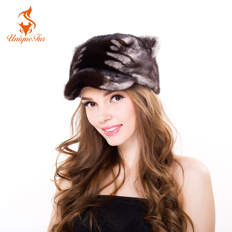 Women Winter Mink Fur Caps Cute Baseball Cap Fashion Tiger Stripe Female Warm Hats With Ears Ladies Warm Party Women Casual Cap cx c 12a genunie mink fur ladies fashion hats drop shipping