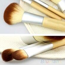 2016 5 unids/set venta caliente nuevo bambú cepillo del maquillaje compone cepillos herramientas 02PY 2P72 8LTU