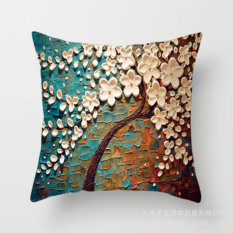 44cmx44cm Cushion Cover Vintage Flower Pillow Case Mural Yellow Red Tree Cherry Blossom Home Decorative Throw Pillow Cover