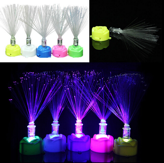 Garden Decor LED Fiber Optic Colorful Changing Lamp Stand Night Light Home