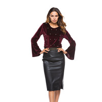 Wine Red Pearl Beading Blouses 2017 Velvet Flare Sleeve Casual Women Tops Cuff Ribbed Cute Elegant