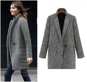 Plus Size S-4XL Top quality low price Women Grey Tweed Long Sleeve Single Button wool overcoat Trench Coat Jacket abrigos mujer
