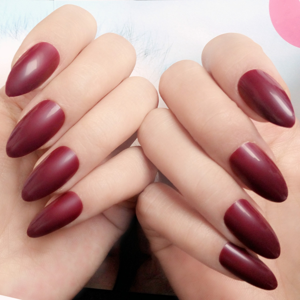 Candy Dark Red False Nails Pointed Acrylic Fake Nails Short Size ...