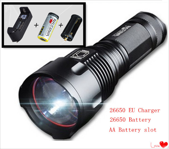 High Power Light CREE XML T6 LED Flashlight tactical 26650/AA rechargeable Zoomable Flashlight Torch 26650 EU battery charger 3 modes 1 xml t6 flashlight ultra bright torch display power rechargeable led flashlight by 1 18650 1 26650 battery