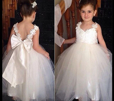 2016 New Fashion Flower Girl Princess Dress Kid Party Pageant Wedding Druhna Tutu BALL Bow White Dress 2 4 6 8 10 12 Lat