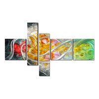 Tooarts цветок жизни современная живопись ручная роспись настенное Искусство украшение дома 5 панелей многоцветный