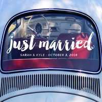 56*15cm Just Married Decal Wedding Vinyl Stickers Modern Fashion Wedding Car Window Art Decor Custom Wall Decals Hot Sale LC310