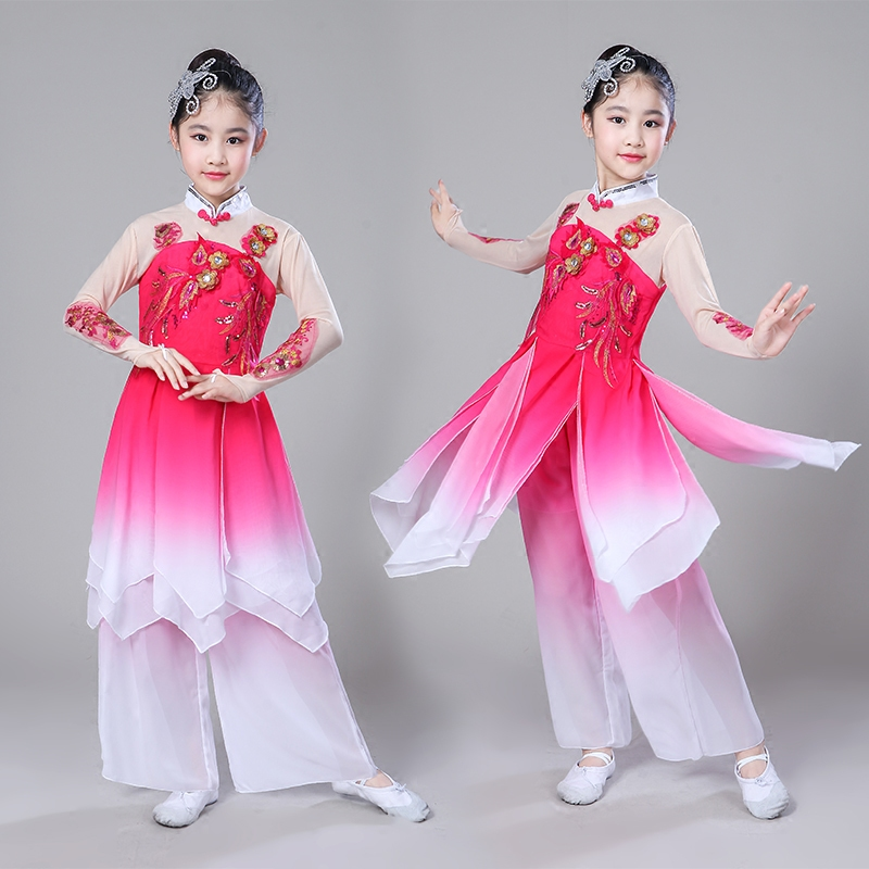 National Costume Yangko Dance Costume Fan Classic Stage Dancing Clothes Children Chinese Folk Yangko Dance Outfits for Girls in Chinese Folk Dance from Novelty Special Use