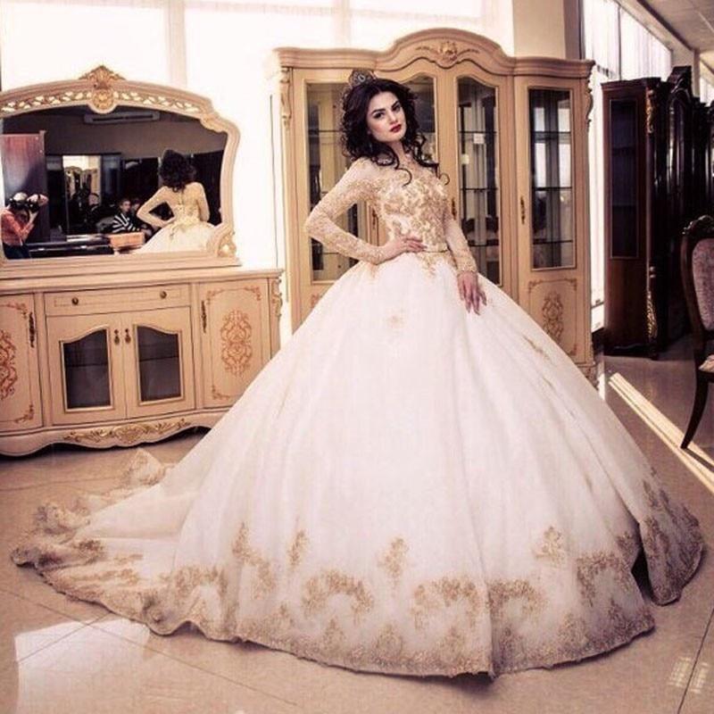 Buy vintage gold lace long sleeve muslim for Gold vintage wedding dresses