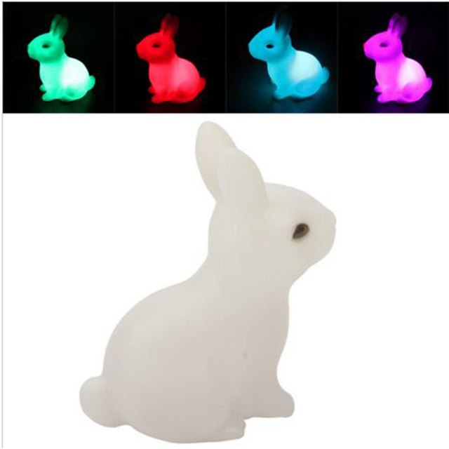 Color Changing Rabbit LED Night Light Animal Cartoon Decorative Lamp Adorable for Children Baby Kids Gift Home Party