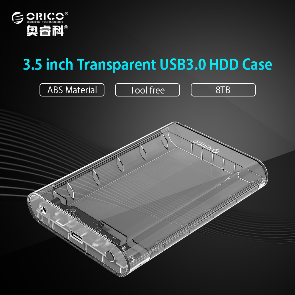 ORICO Transparent 3.5 Inch HDD Enclosure Case USB 3.0 5Gbps To SATA3.0 Support UASP 8TB Drives Designed for Notebook Desktop PC orico 2599us3 sata3 0 to usb 3 0 hdd case tool free 2 5 hdd enclosure for notebook desktop pc hard disk box support uasp