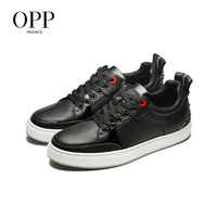 OPP Men Shoes Zip Loafers For Men Cow Leather Flats Shoes Casual Shoes Chain Loafers footwear For Men Lace up Flats
