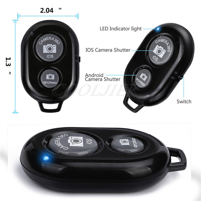 COOLJIER Shutter Release button controller adapter photograph control bluetooth remote button For selfie phone camera 4