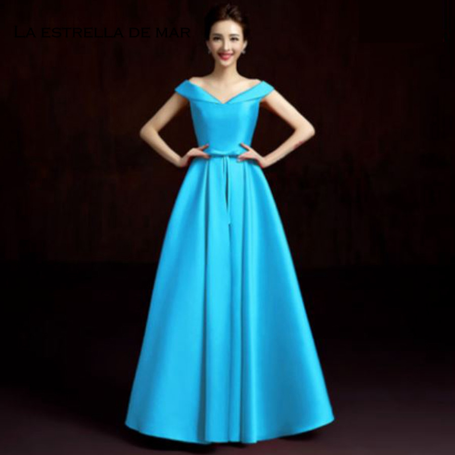 Robe demoiselle d'honneur2018 New Boat Neck Cap Sleeve satin turquoise blue purple champagne royal blue   bridesmaid     dresses   long