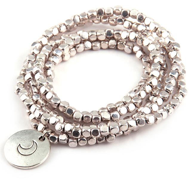 Square Beads five row wrap bracelet Neklace double side Dream Moon charm metal bracelets
