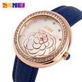 SKMEI Quartzo Strass Relógios Das Mulheres Moda Casual Relógio Pulseira de Couro As Mulheres Se Vestem Relógios de Pulso Relogio feminino