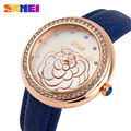 SKMEI  Rhinestone Quartz Watches Women Fashion Casual Clock Leather Strap Women Dress Wristwatches Relogio Feminino