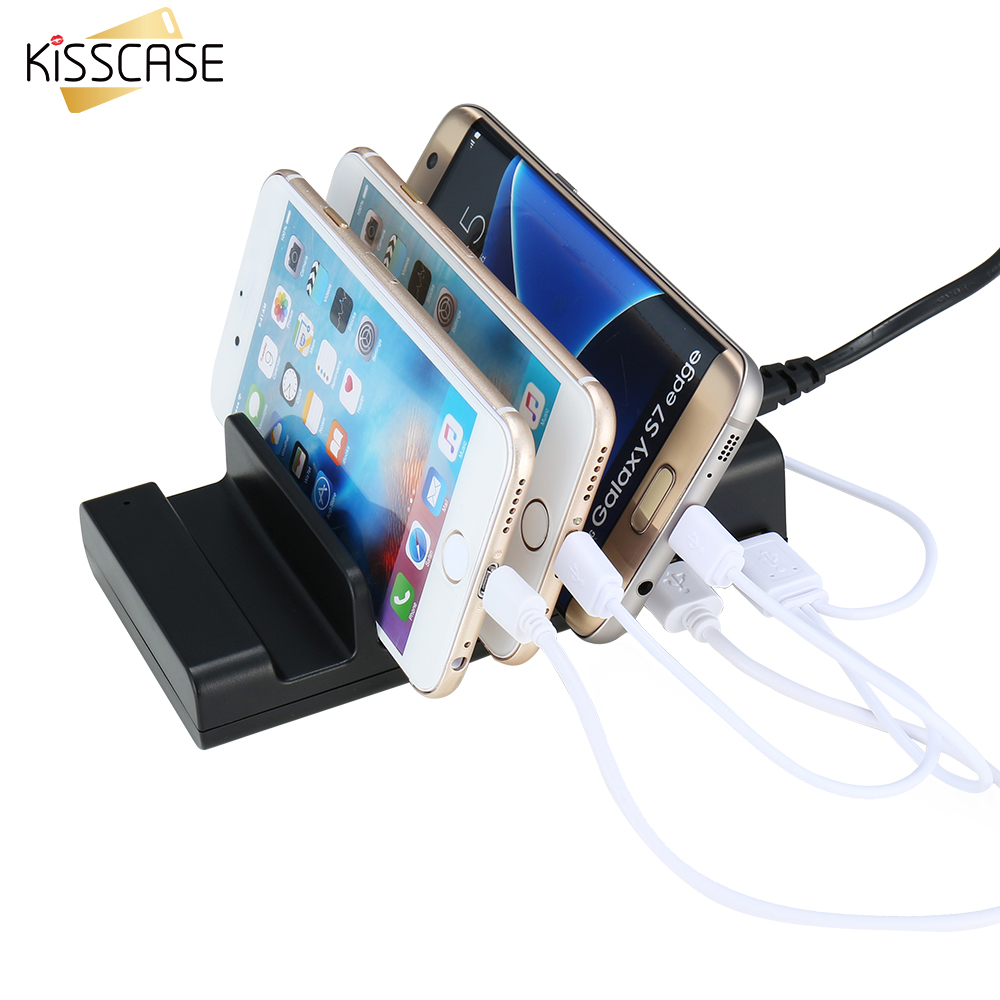 KISSCASE US Stand Charger 5V 2A 4 USB Ports Charging Station Dock Mobile Phone Tablet Stand