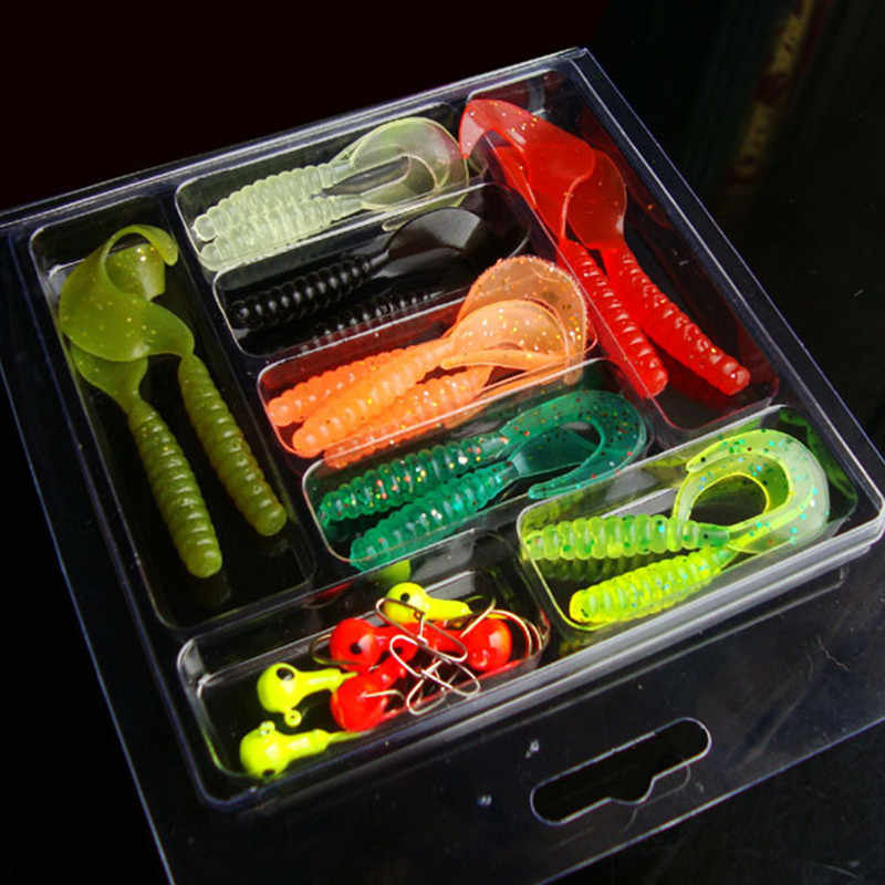 20 ^ 25 unids/set Mini suave señuelo de pesca plomo anzuelo con cabeza plomada gusano pez de silicona cebos para océano carpa cebos de pesca conjunto abordar
