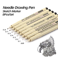 KNOW 8Pcs/Lot Pigma Micron Sketch Marker Pen Black Pigment Liner Neelde Drawing Pen For Drawing Sketching Writing Hook Art Pen