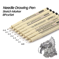 KNOW 8Pcs Lot Fine Lines Needle Drawing Pen Black Sketch Marker Pen For Design Manga School