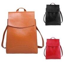 Новый Дизайн Кожа PU Рюкзак Женщины твердые сумки на ремне Для Девочек-Подростков Школьные Сумки Старинные Рюкзаки Mochilas Mujer