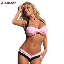 2016 Womens Swim Wear Strappy Bikini Black Pink Patchwork Bathing Suit Swimming Suit Women Sexy 2