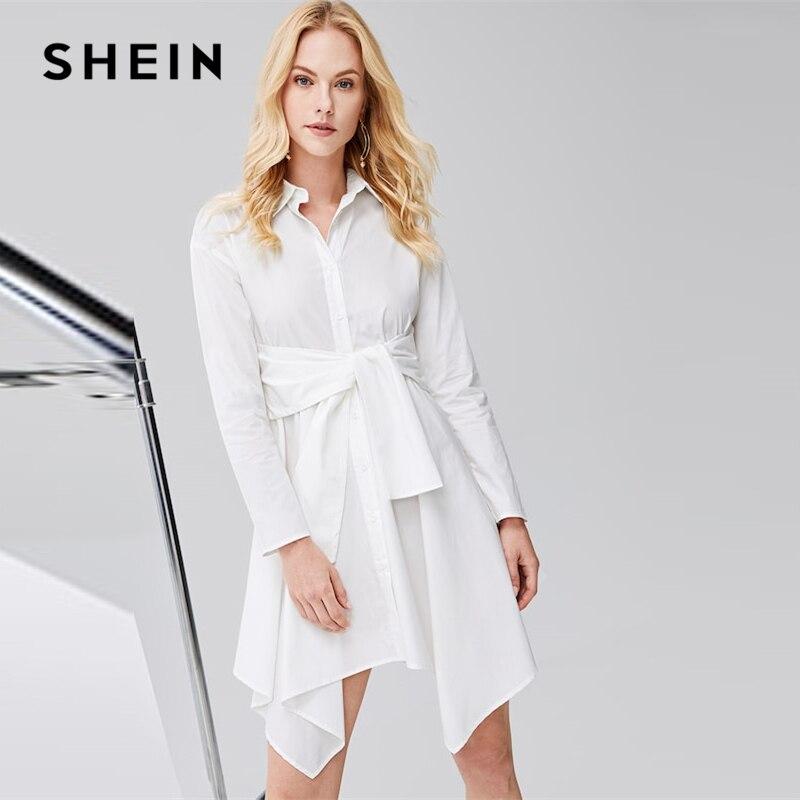 SHEIN белый 100% хлопок с поясом Hanky Hem Асимметричная Блуза платье длиной до колена Простые платья 2019 женское платье трапециевидной формы