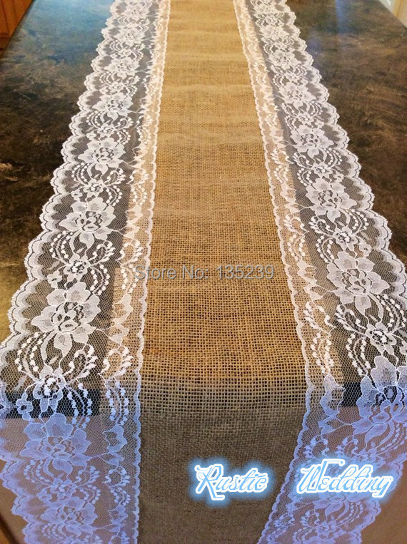 108 Long Burlap And White Lace Runners For Wedding Table