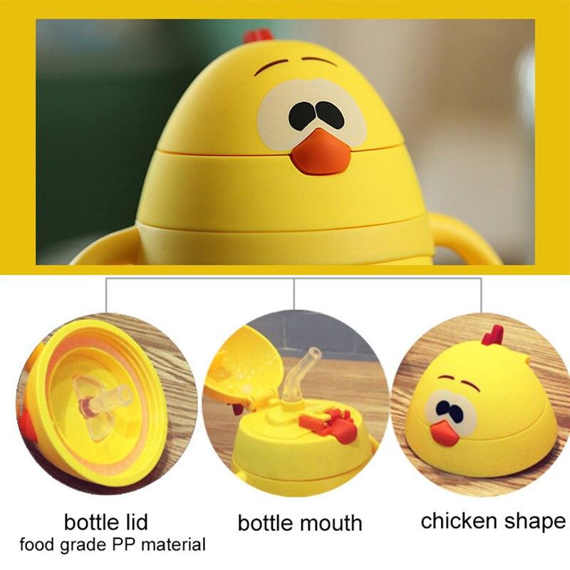 200ml Baby Water Bottle Insulation Bottle Glass Bottle Portable Handle Straws Cups Anti-drop Children Cartoon Cup Creative Gift