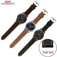 Laopijiang Samsung S3 Engrenage Classique en cuir montre avec Frontière accessoires tête couche veau en cuir