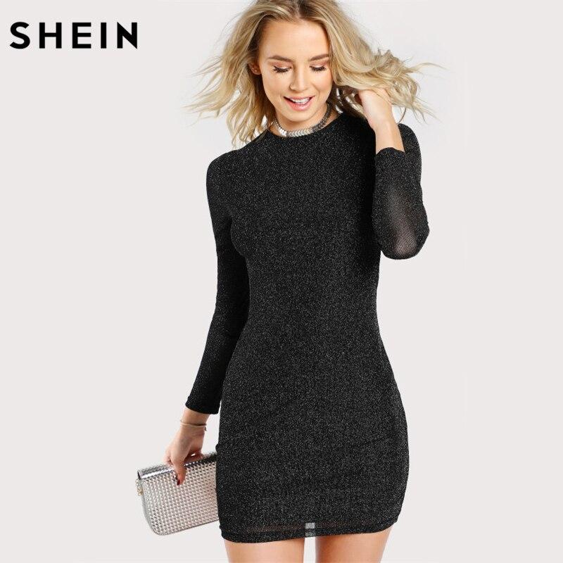 SHEIN Glitter Form Fitting Tee Kleid Schwarz Frauen Kleid Langarm Sexy Bodycon Kleid Herbst Elegante T-shirt Kleid