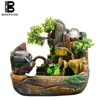 110V/220V Creative Rockery Flowing Water Fountain Desktop Ornaments Living Room Fish Tank Humidifier Lucky Feng Shui Wheel Decor