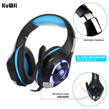 цена KuWfi Wired Gaming headphone Earphone Gaming Headset Headphone Xbox One Headset with microphone for PC/ PS4 Playstation 4 Laptop