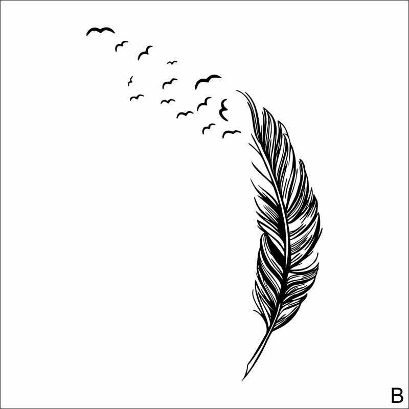 Sederhana Eropa Gaya Dingin Baru Stiker Dinding Burung Bulu Kamar Tidur Rumah Stiker Lukisan Dinding Seni Dekorasi untuk Jendela Warna Solid Stiker #45