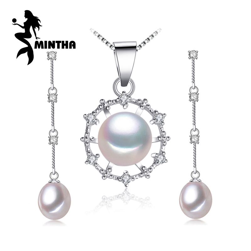 MINTHA pearl jewelry,natural Pearl necklaces & pendants sterling silver Bohemian party jewelry necklace women big flower pendant 60pcs lot 2017 retro key dry flower necklace natural wheat flower glass ball pendant jewelry accessory butterfly necklaces