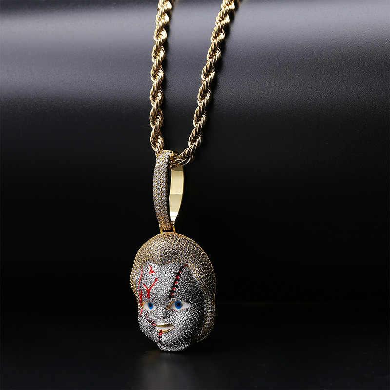 Missfox wisiorek naszyjnik duch lalka terroryzm stylu mężczyzn cyrkon złoty i srebrny modny miedź biżuteria Hip Hop najwyższej jakości męskie naszyjniki