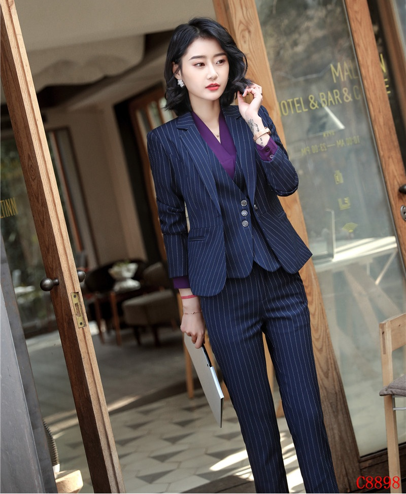 Back To Search Resultswomen's Clothing Suits & Sets 3 Piece Waistcoat Pant And Jacket Sets Formal Women Business Suits Blue Striped Blazers Vest Ladies Work Wear Uniforms