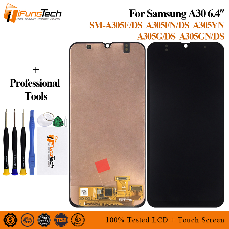 For <font><b>Samsung</b></font> <font><b>A30</b></font> <font><b>lcd</b></font> 2019 A305/DS A305F A305FD A305A SM-A305F/DS Touch Screen Digitizer Assembly with frame image