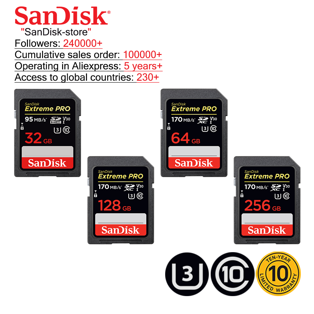 SanDisk Extreme PRO SD Card 32GB SDHC 95MB/S 64GB 128GB 256GB SDXC UHS-I U3 Class10 170MB/S Flash Memory Cards SD Memory Card