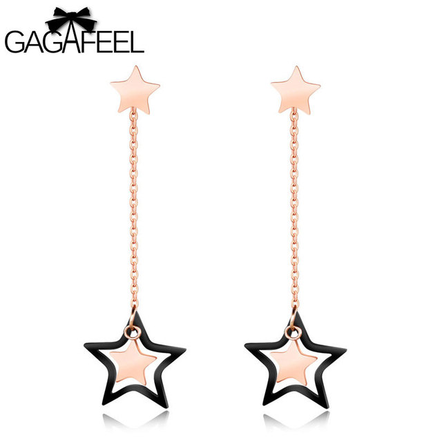 Gagafeel Double Star Dangle Earrings For Women Jewelry Stainless Steel Statement Rose Gold Color