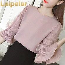 Women Chiffon Blouses 2018 Summer Flare Ruffled Sleeve Elegant Blouse Three Quarter Tops Clothing Pink Blusas