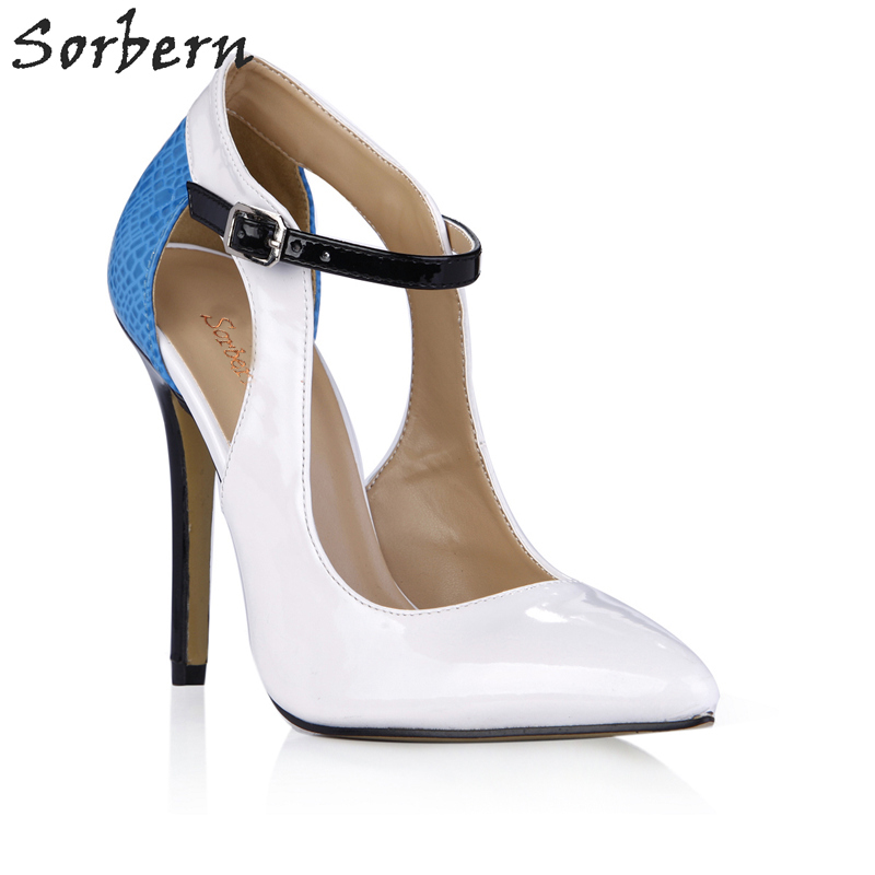 Sorbern Sexy White Shiny Women Pumps Ankle Straps Pointed Toe 12Cm Stilettos High Heel Novelty Ladies Shoes Pumps Custom Colors sequined high heel stilettos wedding bridal pumps shoes womens pointed toe 12cm high heel slip on sequins wedding shoes pumps