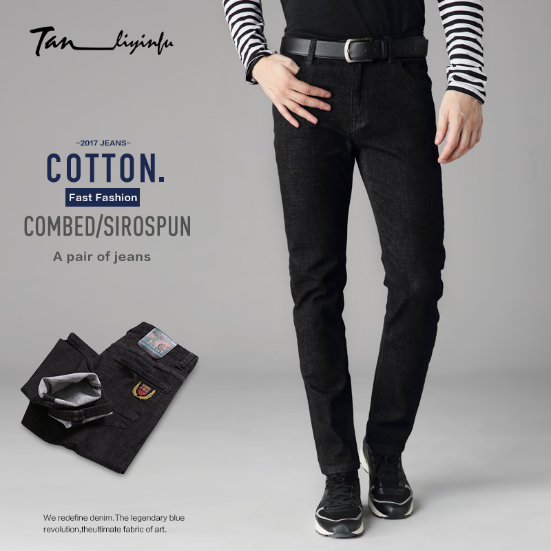 ФОТО Tanliyinfu spring new high quality men's black embroidered jeans 98% cotton 2% spandex button zipper decoration