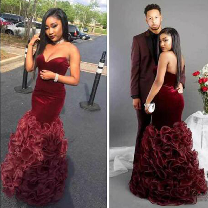 2019 Sexy Burgundy Mermaid South African Black Girls Prom Dress Sweetheart Long Formal Pageant Evening Party Gown Plus Size