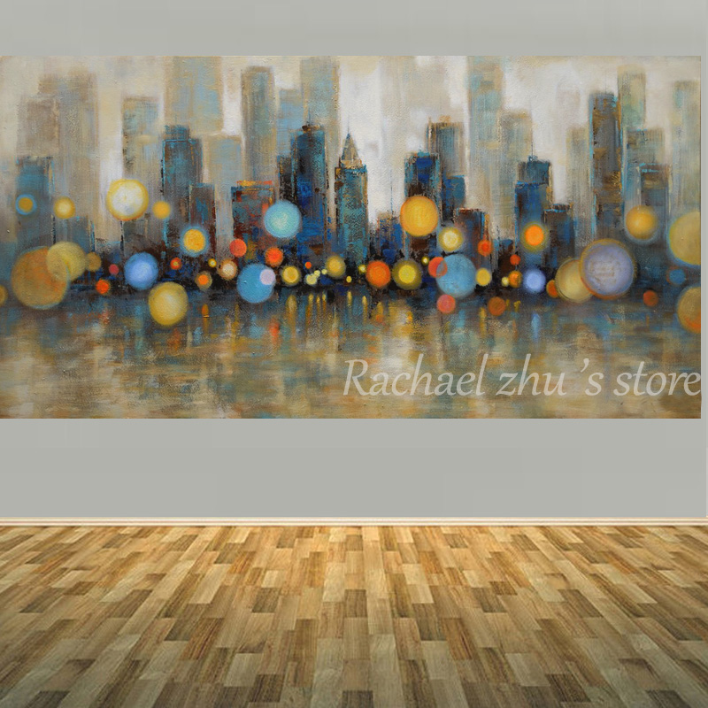 Large Framed Wall Art New York City Landscape Sunset: Large Size Hand Painted Abstract New York Cityscape Oil