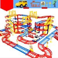 Rail De Montage de Voitures Hot Wheels Brinquedos Électrique Vitesse Piste Jouets Éducatifs Pour Les Enfants Diy Piste de Course Avec la Boîte de Détail