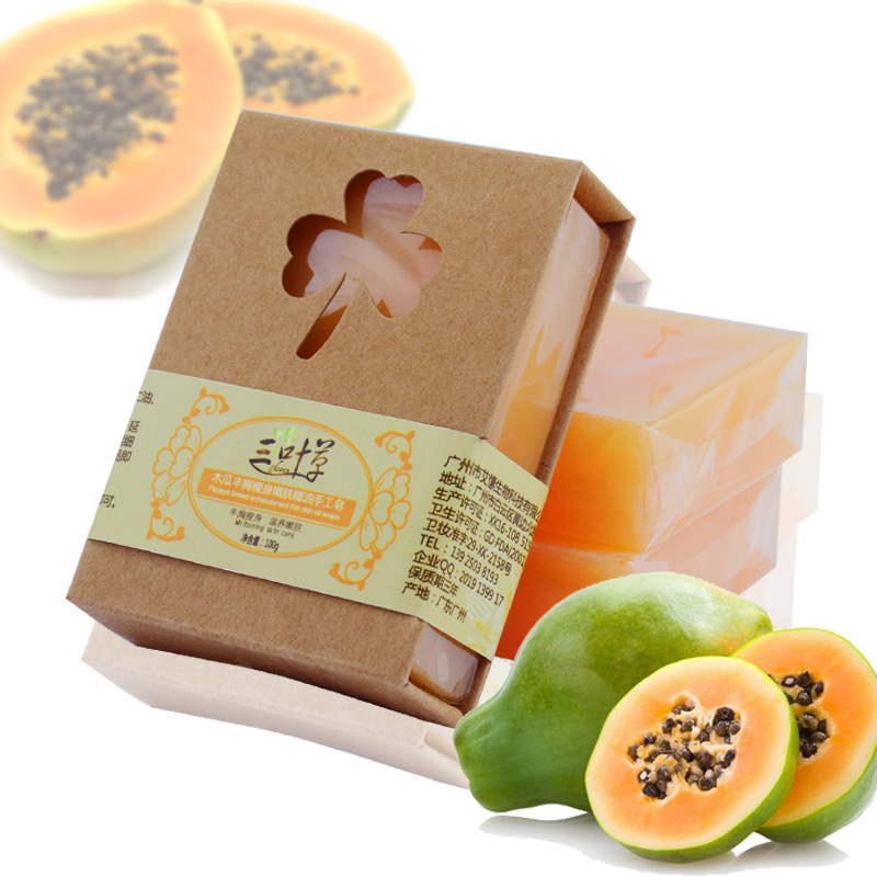 100g Natural Organic Herbal Green Papaya Whitening Handmade Soap Lightening Skin Remove Acne Moisturizing Cleansing Bath Soap c ts021 new 100g top grade purely natural organic pueraria mirifica powder puerarin lobed kudzuvine root extract herbal tea