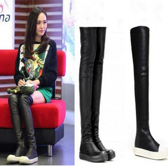 цена Hot Women Over The Knee Boots Thigh High Flat Long Boots Thick Bottom Black Leather Casual Boots Round Toe Slip-on Shoes Woman