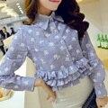 Mulher camisas com manga longa 2016 primavera outono senhoras bonito polka dot plissado peplum topo